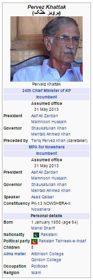 Khyber Pakhtunkhwa Chief Minister Pervaiz Khattak